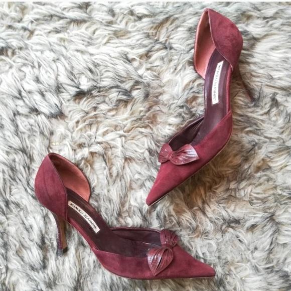 Manolo Blahnik Shoes - Manolo blahnik plum / burgandy suede heels uk40